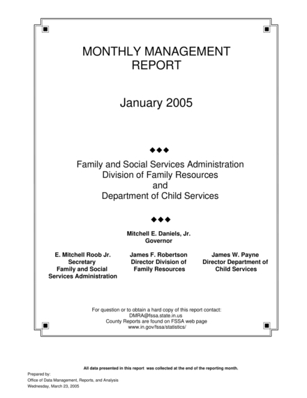 basic monthly management report example
