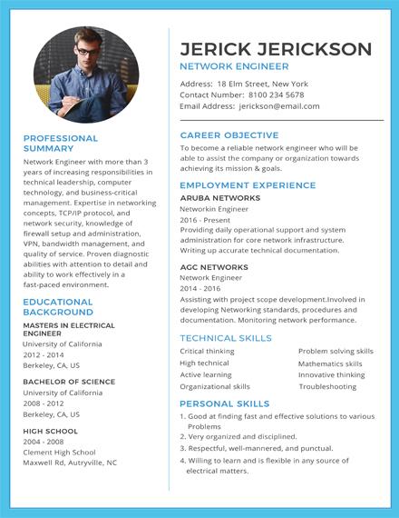 basic network engineer resume