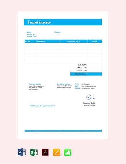 basic travel invoice template