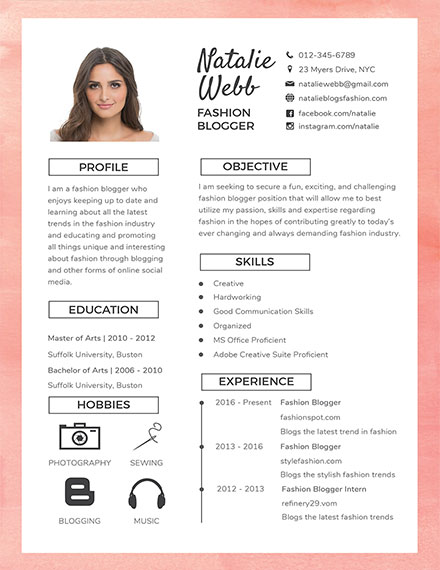 best fashion creative resume