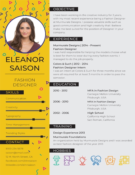 best fashion designer creative resume