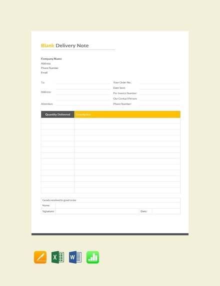 blank delivery note