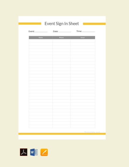 Blank Event Sign In Sheet