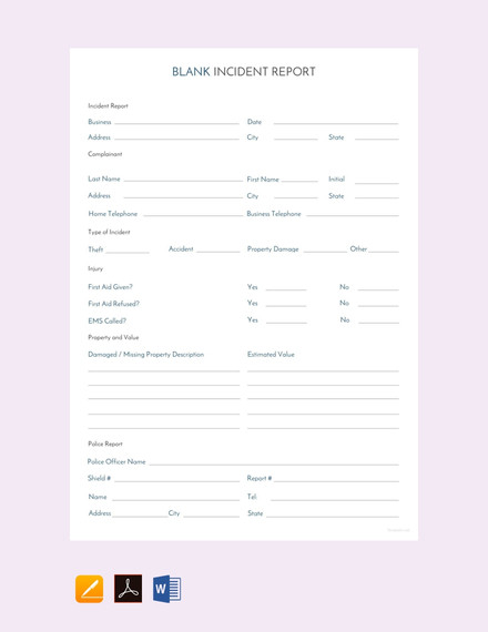 blank incident report template