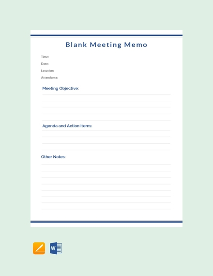 blank meeting memo template