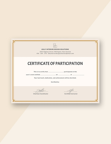 Blank Participation Certificate Template