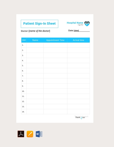 blank patient sign in sheet template