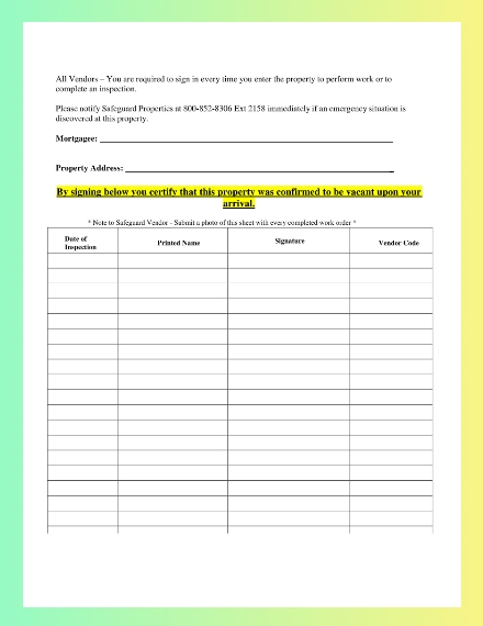 Blank Property Sign In Sheet