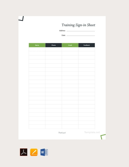 blank training sign in sheet