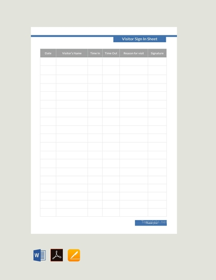 blank visitor sign in sheet