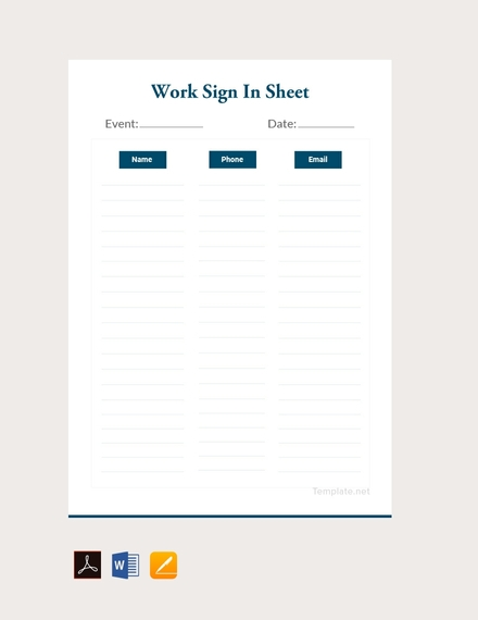 blank work sign in sheet