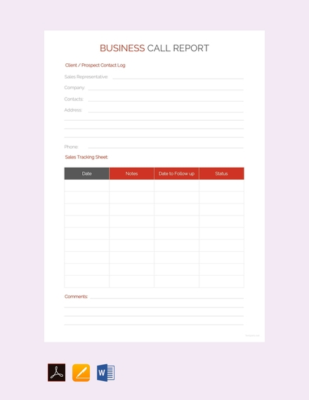 business call report template