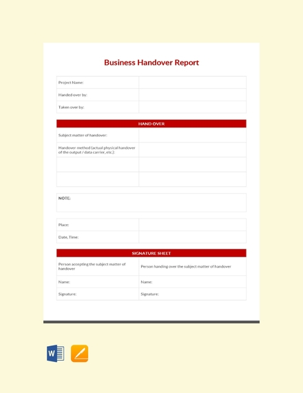 business handover report template