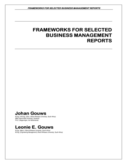 business management report framework example