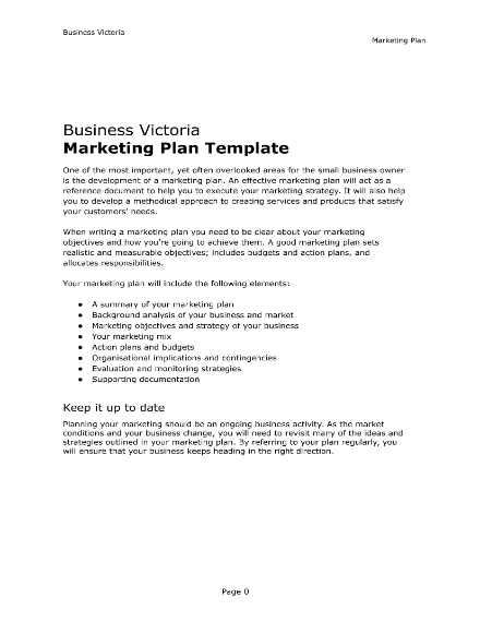 business marketing plan template