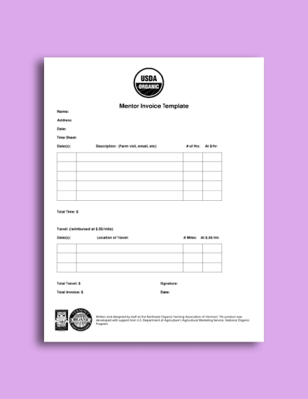 business mentor invoice template