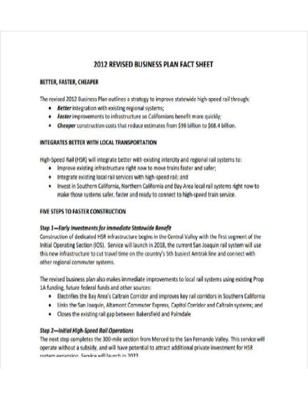 business plan fact sheet