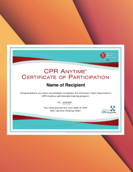 cpr training program participation certificate