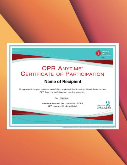 CPR Training Program Participation Certificate