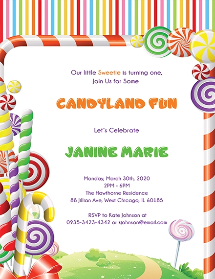 Candyland Birthday Invitation Template
