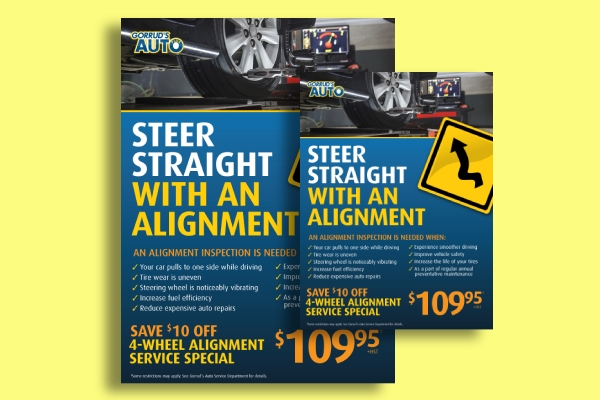 car alignment inspection service flyer