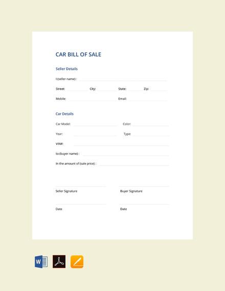 car bill of sale sample