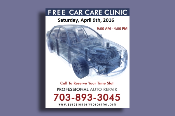 car care clinic service flyer