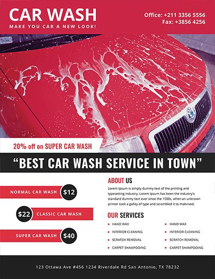 car wash advertising flyer sample