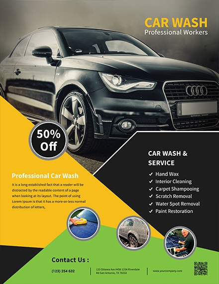 car wash service flyer template1
