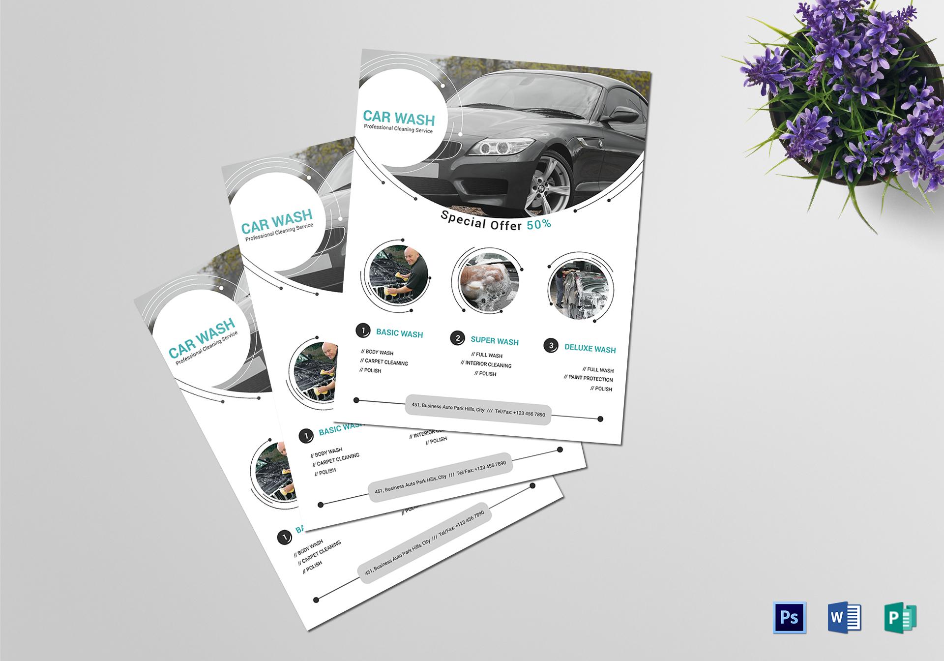 car washing service flyer