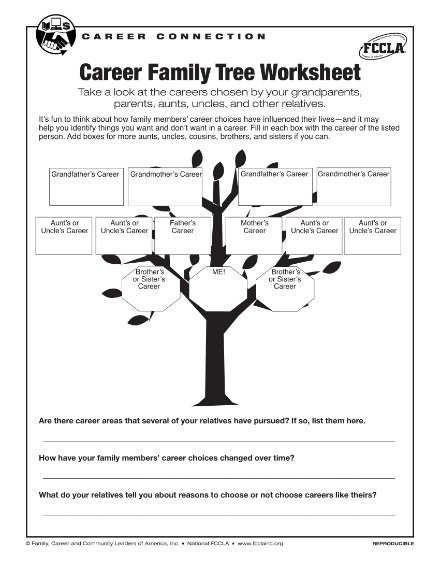 career family tree worksheet