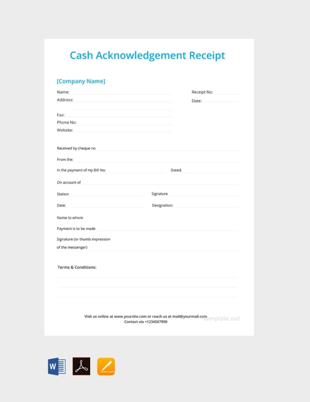 cash acknowledgement receipt template