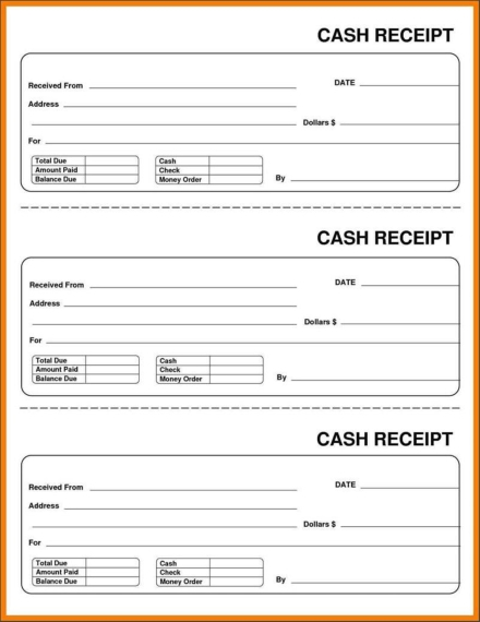 cash collection receipt template sample