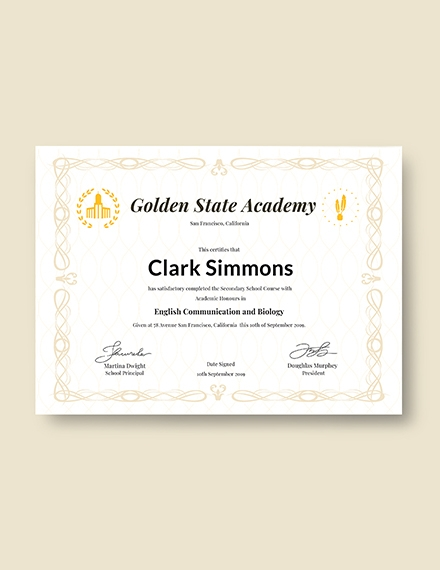 certificate academic diploma