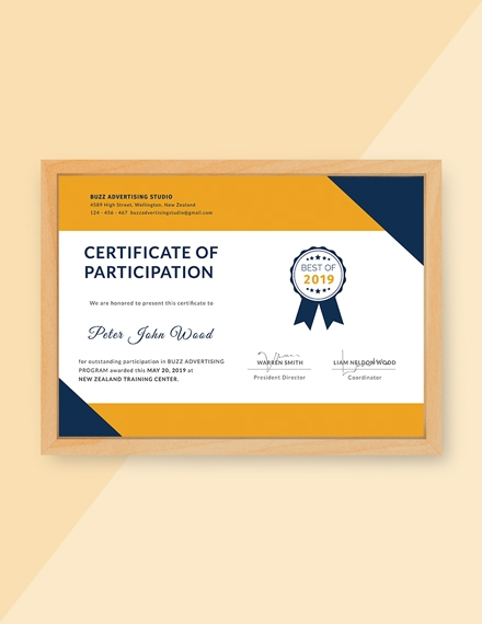certificate for outstanding participation