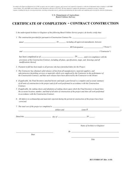 certificate of completion contract construction example