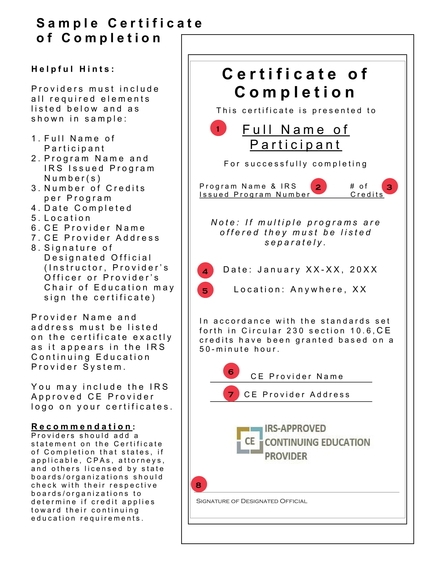 certificate of completion example