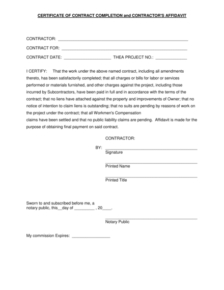 certificate of contract completion and contractors affidavit example