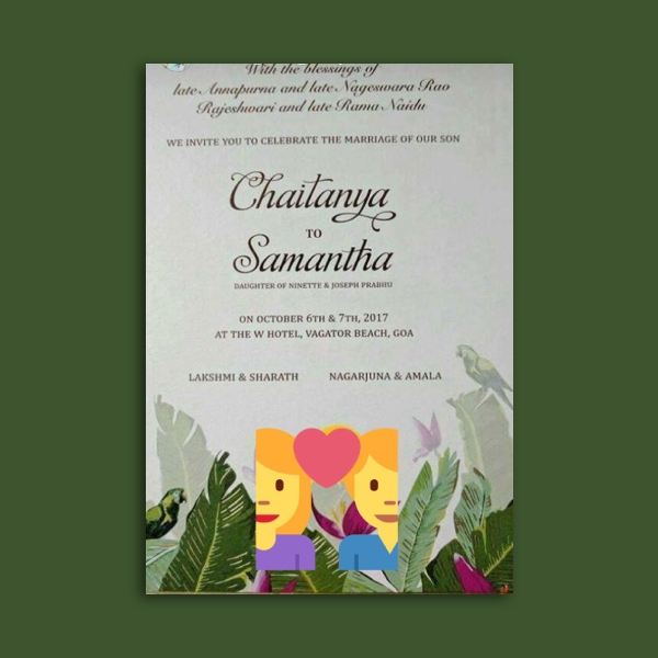 chaitanya and samantha wedding invitation card