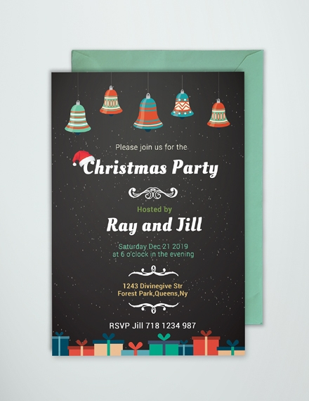 chalkboard christmas invitation card