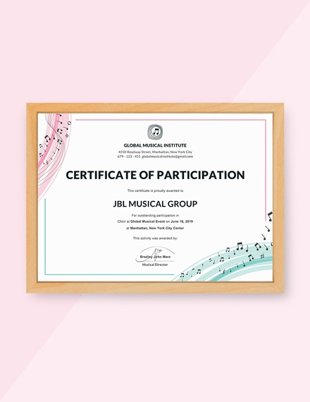 choir certificate of participation