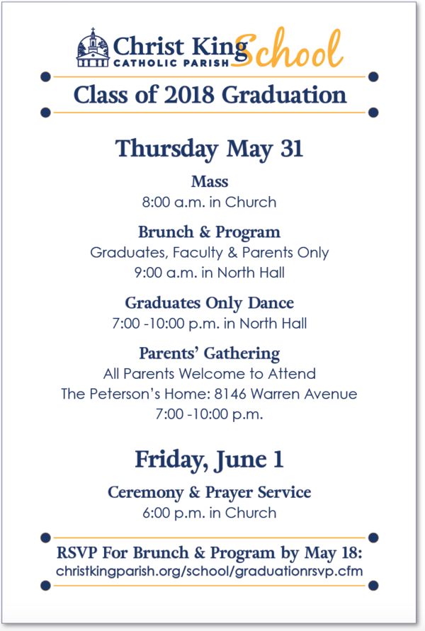 Christ King School Graduation Invitation
