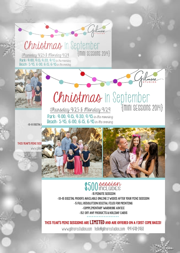 christmas in september session photography flyer