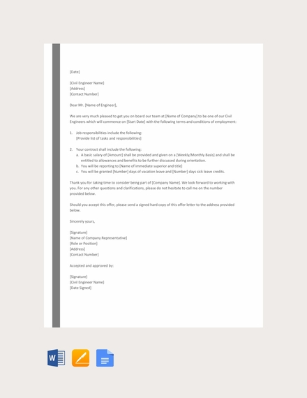 civil engineer offer letter template