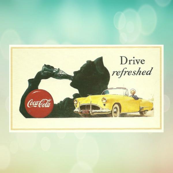 coca cola automobile business postcard