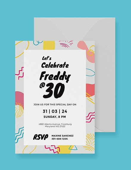 Colorful Birthday Invitation Card