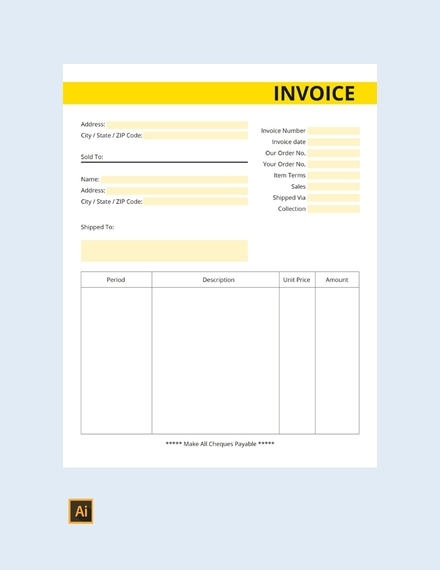 commercial business invoice