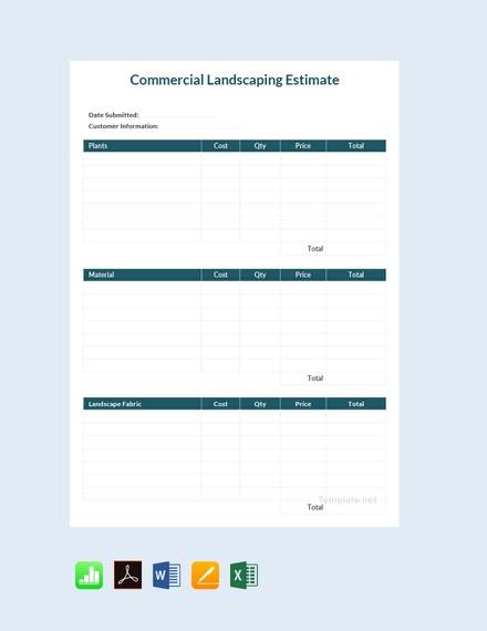 commercial landscaping estimate sheet template