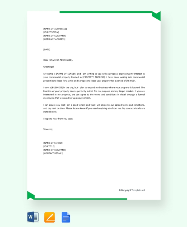 commercial lease proposal letter