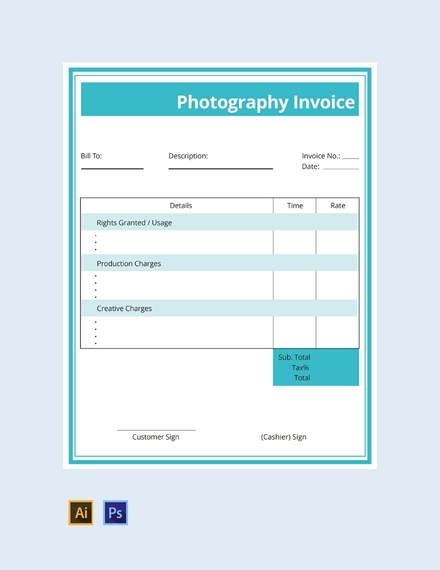 commercial photography invoice